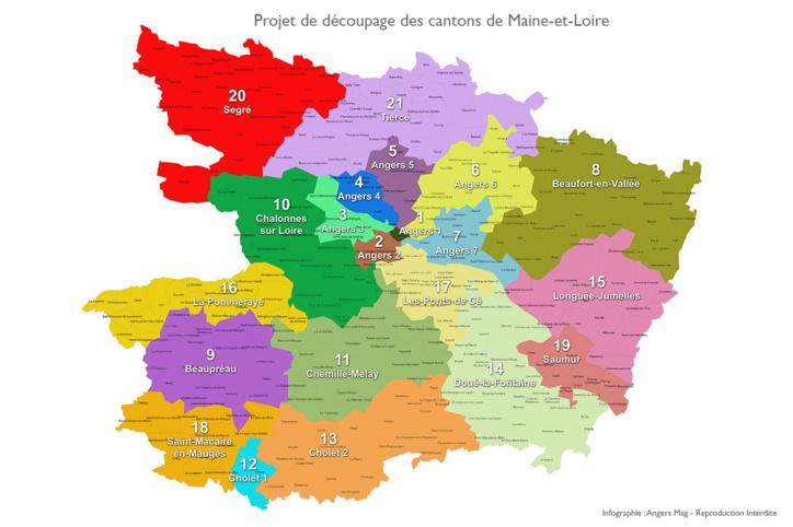 Maine et loire carte du projet de red coupage des cantons - Chambre des notaires de maine et loire ...